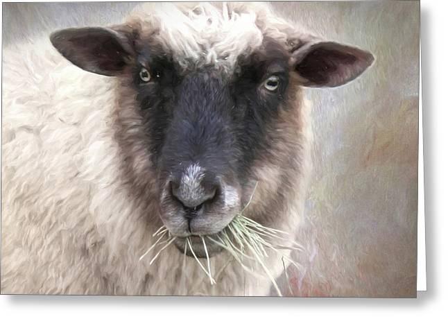 The Farmer's Sheep Greeting Card by Lori Deiter