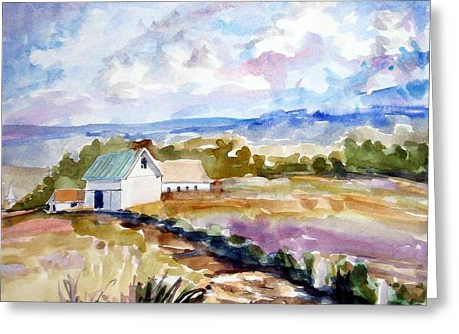 The Farmhouse Greeting Card by Debbie Peate
