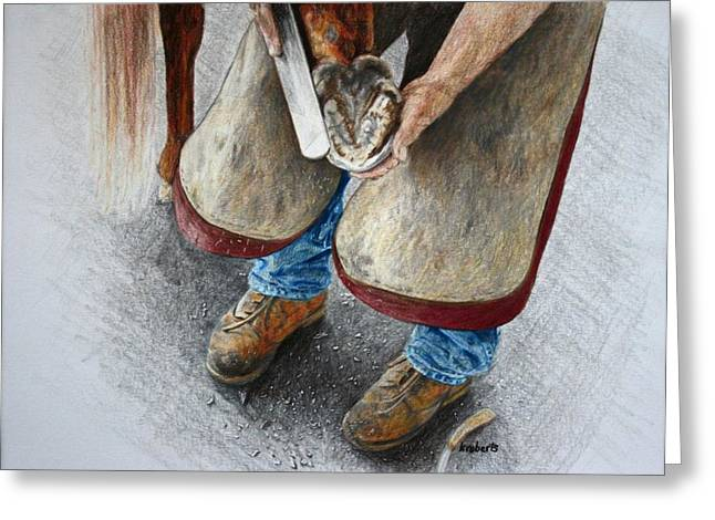 The Farrier Greeting Card by Kathy Roberts