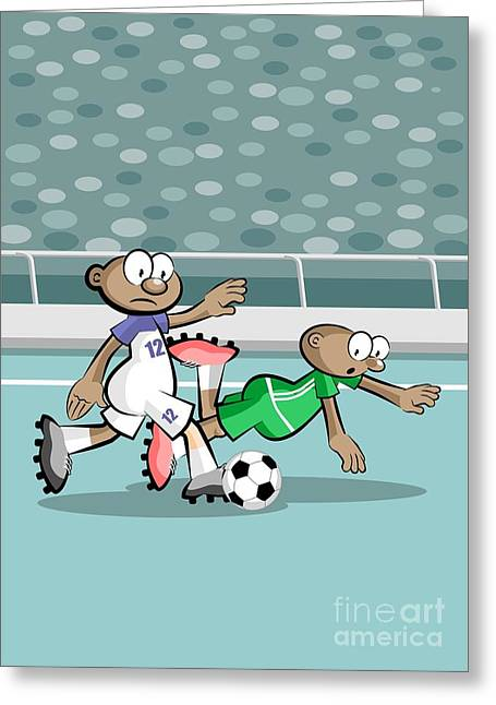 The Fast Attacking Soccer Player Advances Through The Playing Field Greeting Card
