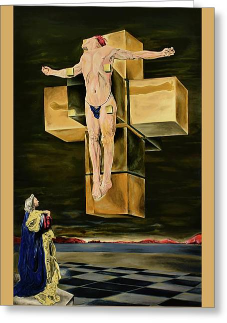 Greeting Card featuring the painting The Father Is Present -after Dali- by Ryan Demaree