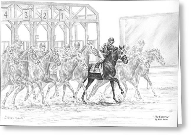 Kelli Drawings Greeting Cards - The Favorite - Horse Racing Art Print Greeting Card by Kelli Swan