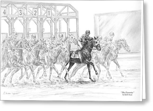 The Favorite - Horse Racing Art Print Greeting Card by Kelli Swan