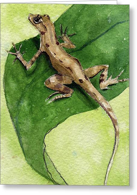 The Feckless Gecko Greeting Card by Kris Parins