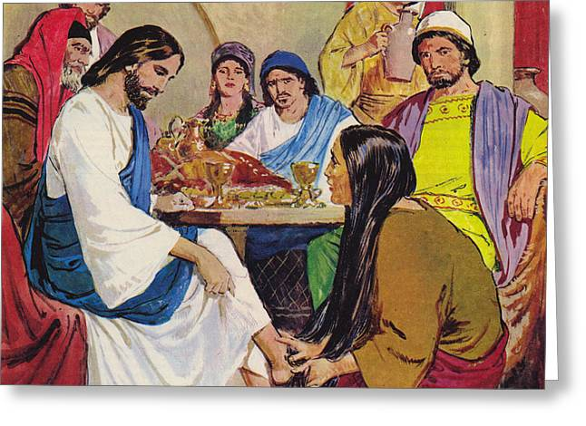 The Feet Of Jesus Anointed In The House Of A Pharisee By A Woman Of Faith Greeting Card by Clive Uptton