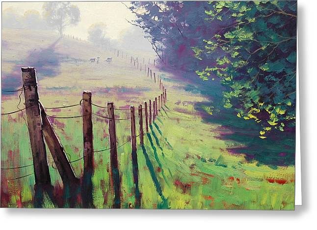 The Fence Line Greeting Card by Graham Gercken