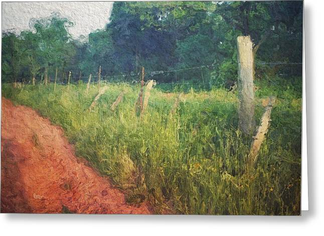 The Fence Posts Along The Road Greeting Card by Melissa D Johnston