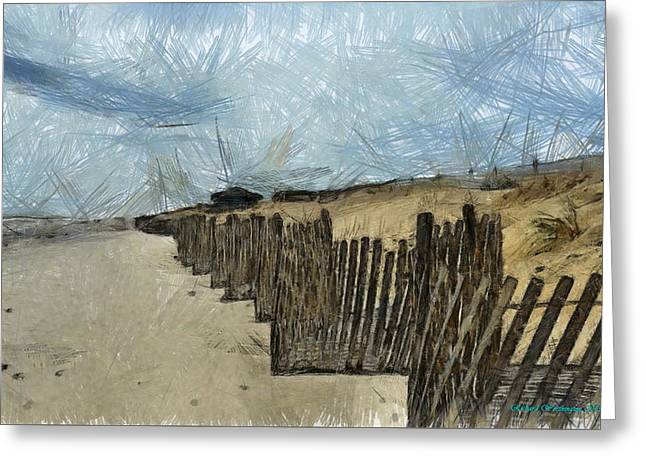 The Fence Greeting Card by Richard Worthington