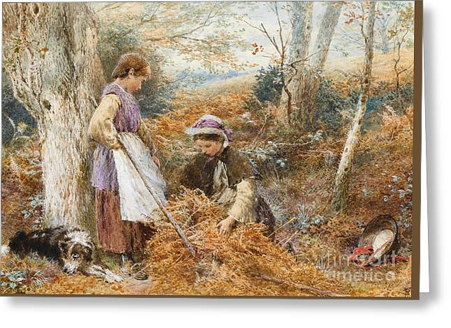 The Fern Gatherers Greeting Card by Myles Birket Foster