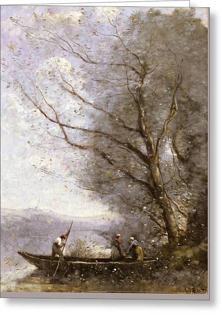 The Ferryman Greeting Card by Jean-Baptiste-Camille Corot