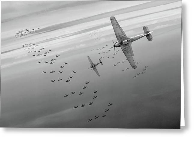 Greeting Card featuring the photograph The Few Bw Version by Gary Eason