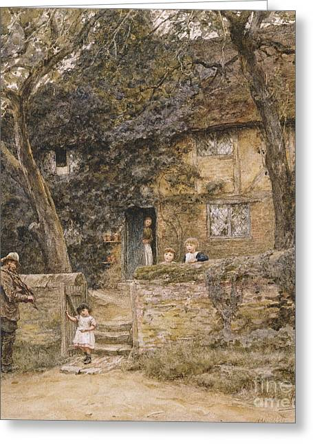 Visitors Greeting Cards - The Fiddler Greeting Card by Helen Allingham