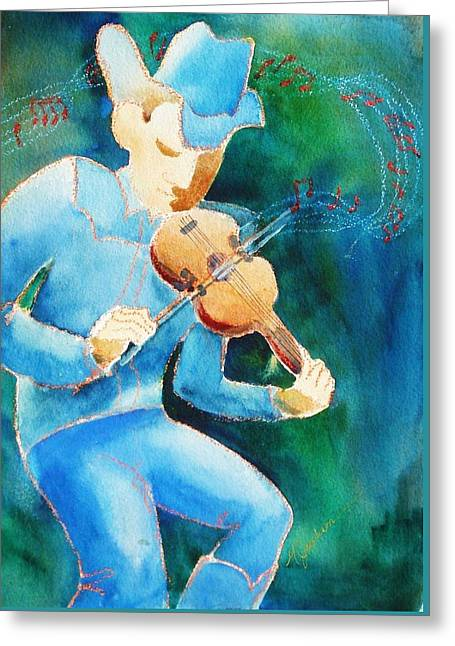 The Fiddler Greeting Card by Marilyn Jacobson