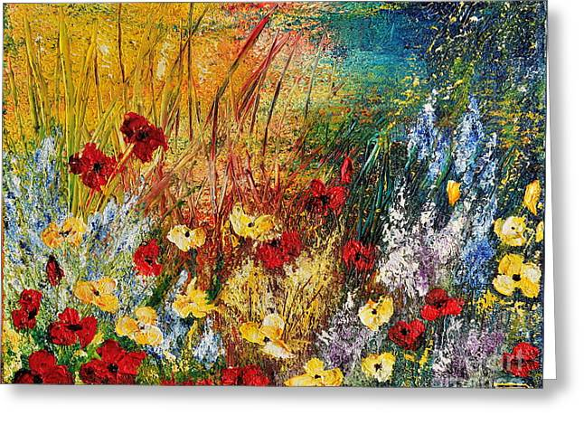 Greeting Card featuring the painting The Field by Teresa Wegrzyn