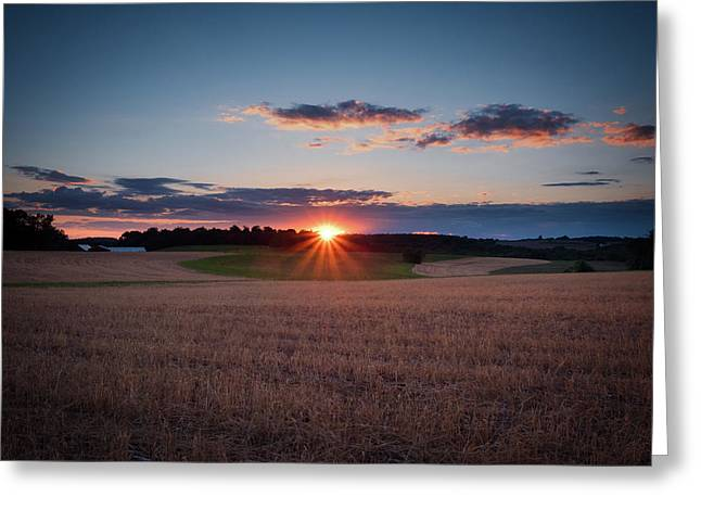 Greeting Card featuring the photograph The Fields At Sunset by Mark Dodd
