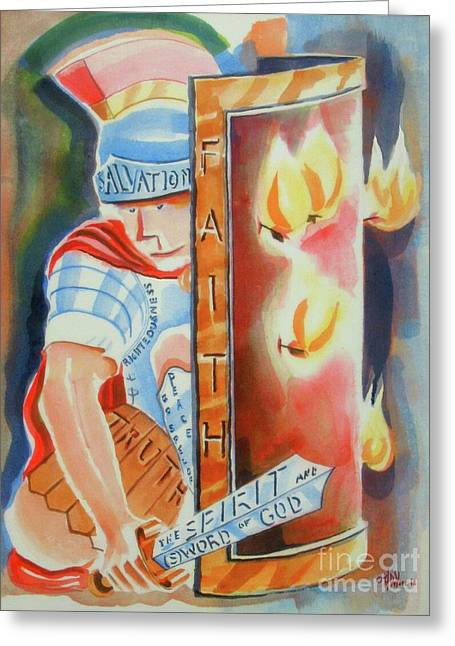 Greeting Card featuring the painting The Fiery Darts Of The Evil One 3 by Kip DeVore
