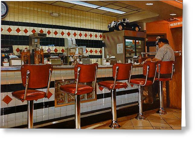 Doug Strickland Greeting Cards - The Fifties Diner 2 Greeting Card by Doug Strickland