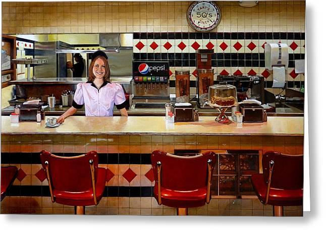 Waitresses Greeting Cards - The Fifties Diner Greeting Card by Doug Strickland