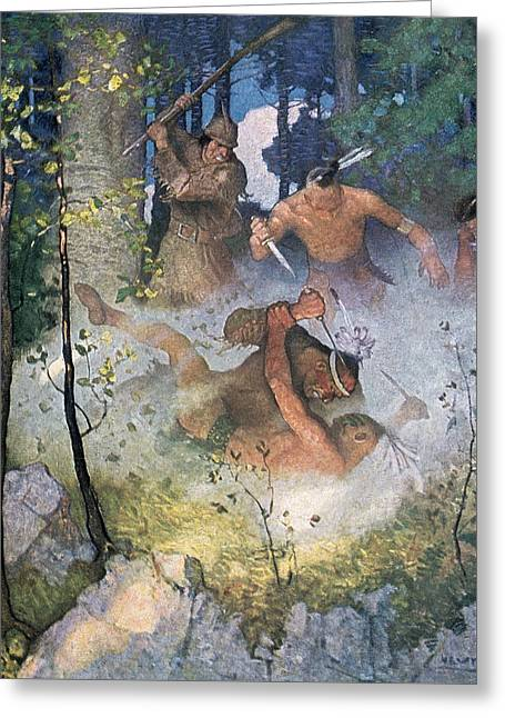 The Fight In The Forest Greeting Card by Newell Convers Wyeth