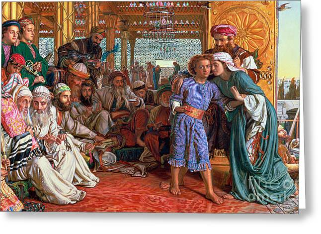Old Man Greeting Cards - The Finding of the Savior in the Temple Greeting Card by William Holman Hunt