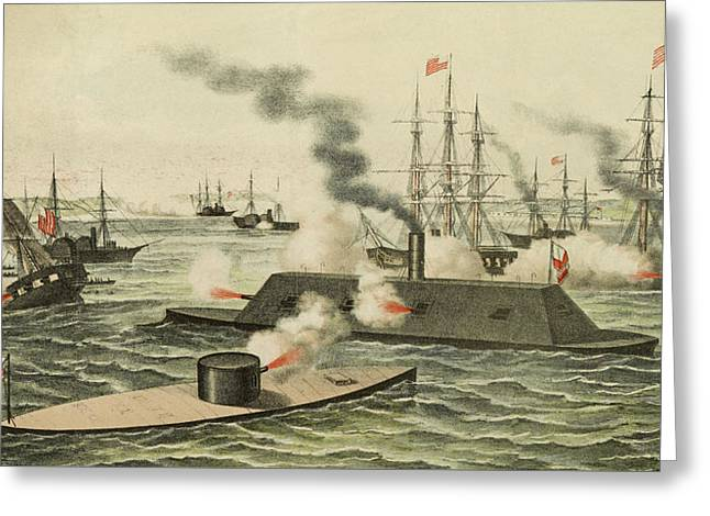 The First Battle Between Iron Ships Of War Greeting Card by Henry Bill