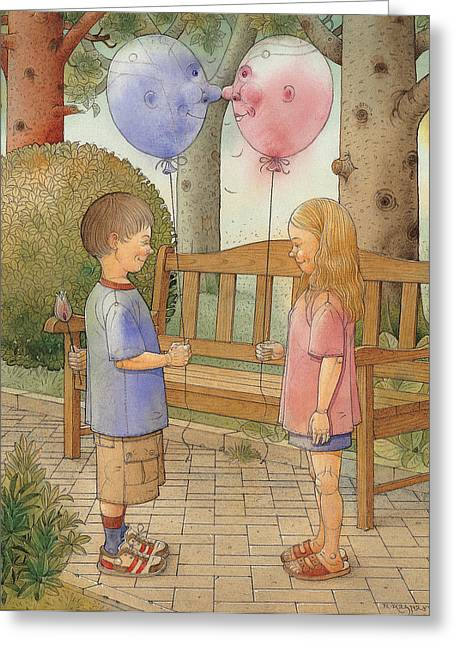 The First Date Greeting Card by Kestutis Kasparavicius