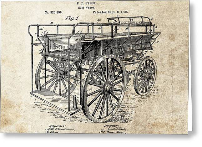 The First Fire Wagon Greeting Card by Dan Sproul