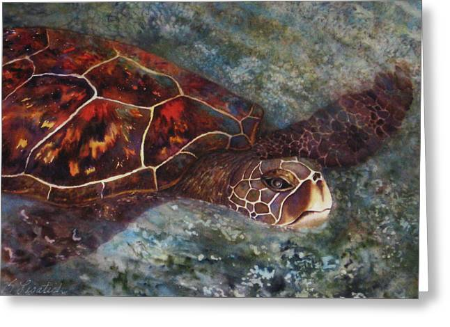 The First Honu Greeting Card by Kerri Ligatich