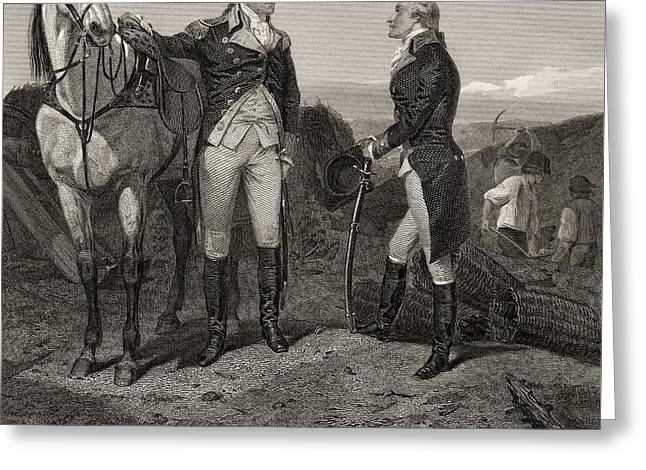 The First Meeting Of George Washington And Alexander Hamilton Greeting Card by Alonzo Chappel