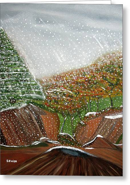 The First Snow Greeting Card by Edwin Long