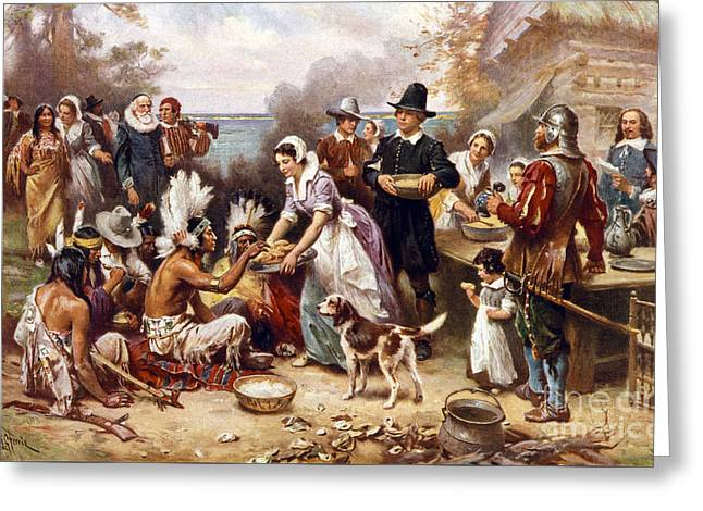 The First Thanksgiving Greeting Card by American School