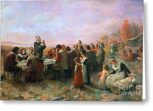 Colonists Greeting Cards - The First Thanksgiving Greeting Card by Granger