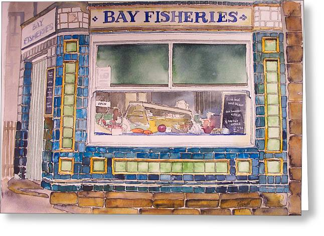 The Fish And Chip Shop Greeting Card by Victoria Heryet