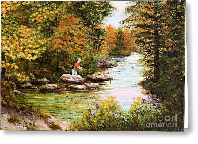 The Fisher Boy  Greeting Card by Judy Filarecki