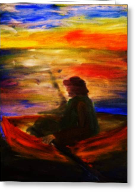 Greeting Card featuring the painting The Fisherman by Evelina Popilian