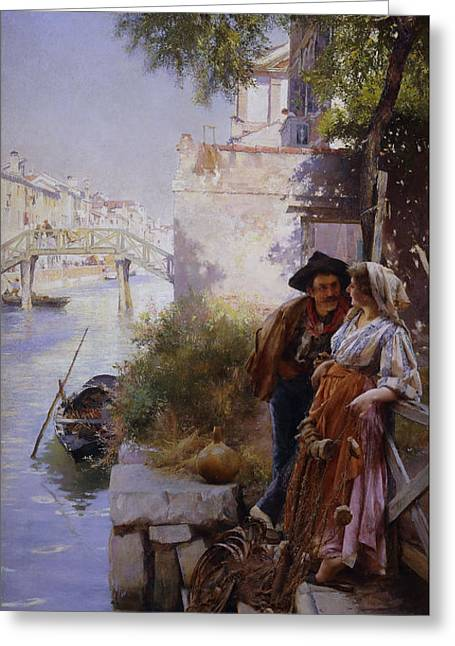 The Fisherman's Courtship Greeting Card by Henry Woods
