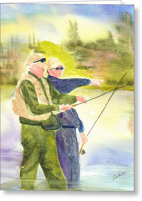 The Fishermen Greeting Card by Carolyn Curtice