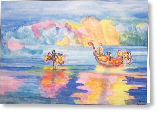 The Fishermen Come Home Greeting Card by Connie Valasco