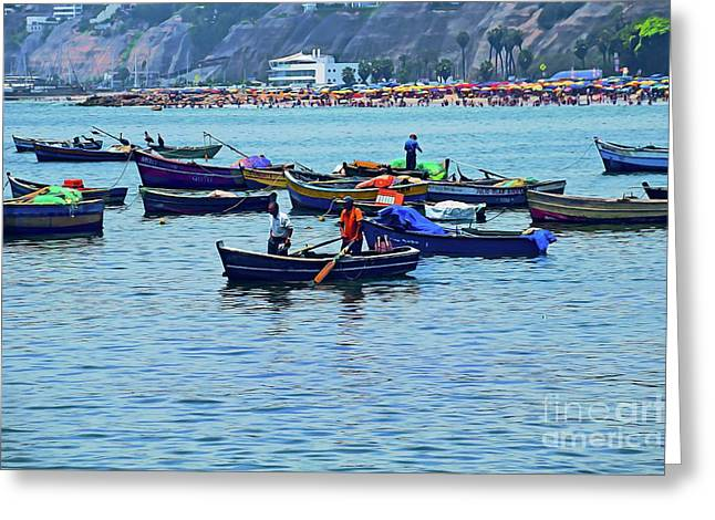 Greeting Card featuring the photograph The Fishermen - Miraflores, Peru by Mary Machare