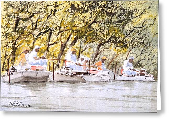The Fishing Party Greeting Card by Bill Holkham