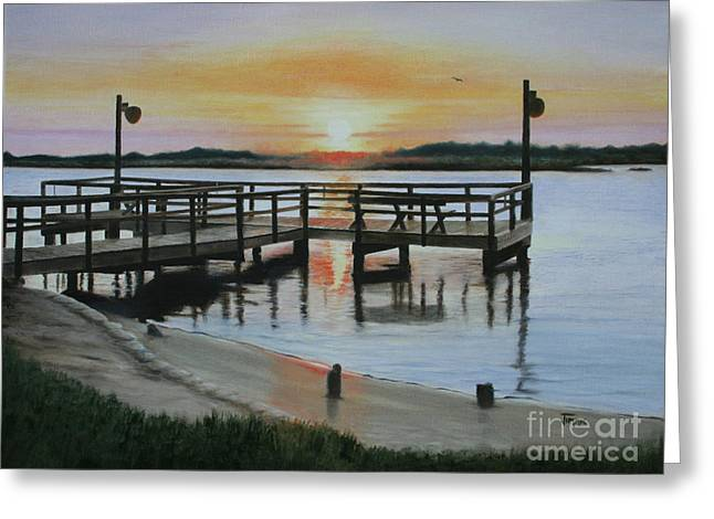 Greeting Card featuring the painting The Fishing Pier by Jimmie Bartlett