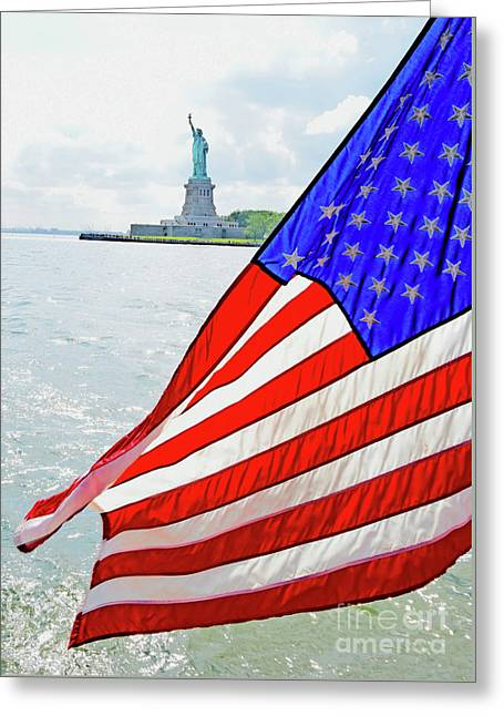 The Flag Flies For The Statue Of Liberty Greeting Card
