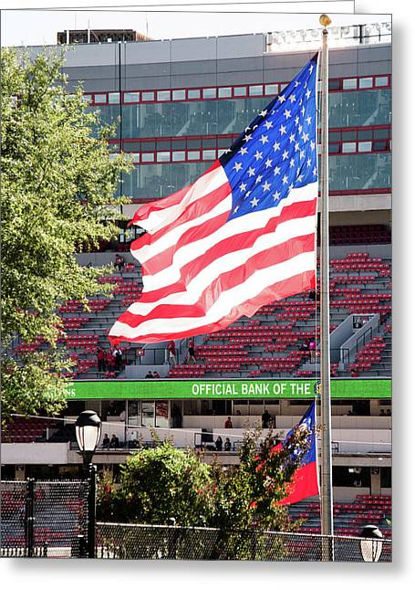 The Flag Flying High Over Sanford Stadium Greeting Card by Parker Cunningham