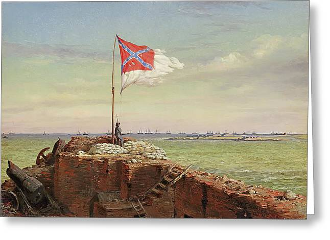 The Flag Of Sumter 1863 Greeting Card by Conrad Chapman