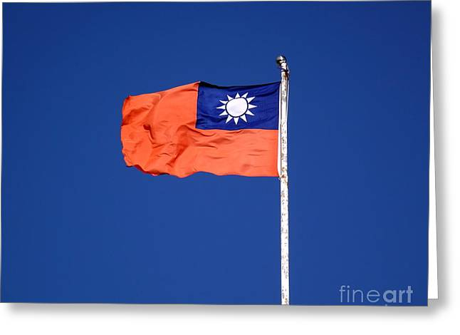Greeting Card featuring the photograph The Flag Of Taiwan by Yali Shi