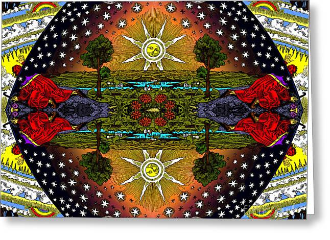 The Flammarion Engraving Revealed - As Above So Below Greeting Card by Fox Burroughs