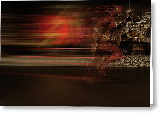 Greeting Card featuring the digital art The Flash  by Louis Ferreira
