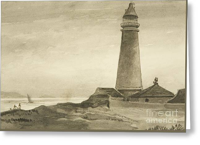 The Flat Holm Lighthouse Greeting Card by John Reverend Eden