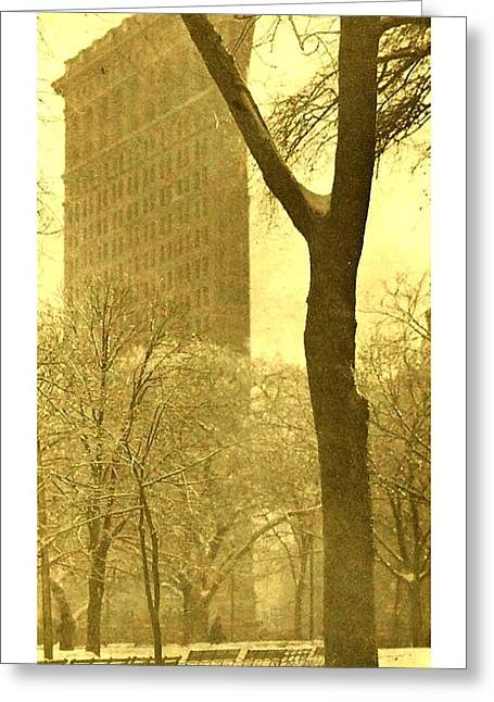Greeting Card featuring the photograph The Flat Iron Building 1903 Alfred Stieglitz by Peter Gumaer Ogden