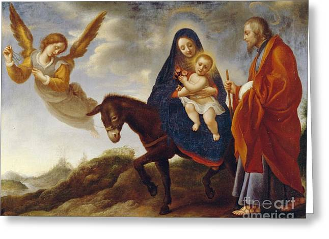 Flying Angel Greeting Cards - The Flight into Egypt Greeting Card by Carlo Dolci